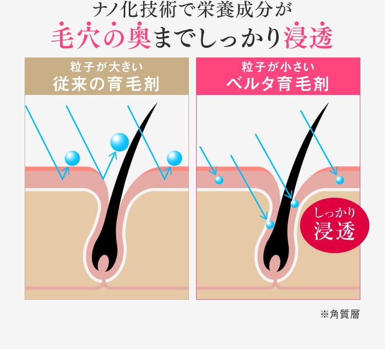 ベルタヘアローションがこんなにも選ばれる理由「POINT2 ナノ&化技術で毛穴の奥までしっかり浸透」