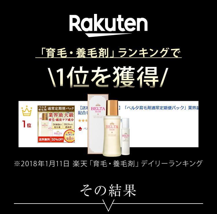 Rakuten「育毛・養毛剤」ランキングで1位を獲得!