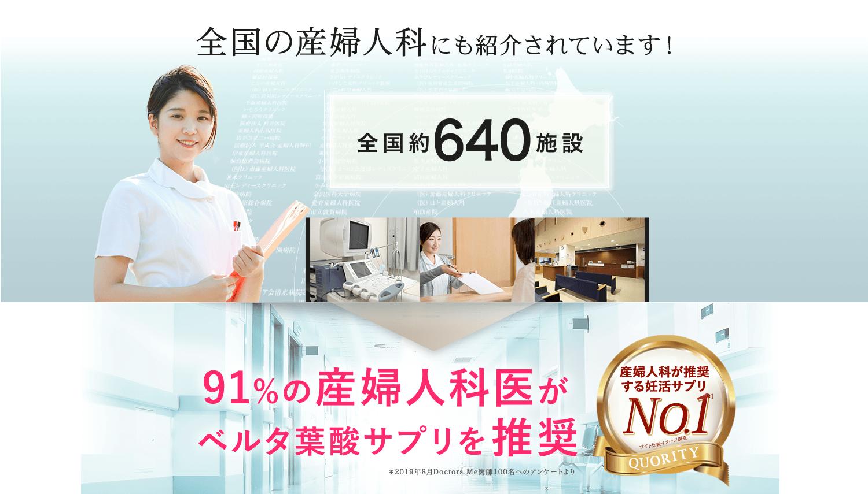 全国640施設の産婦人科にも紹介されています!91%の産婦人科医がベルタ葉酸サプリを推奨