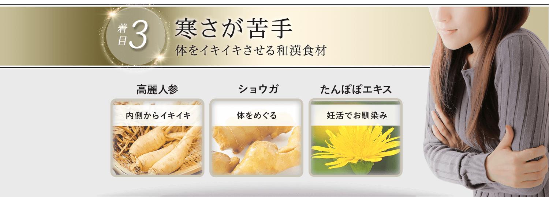 着目3.冷え性体質。温活のための和漢食材。高麗人参、ショウガ、たんぽぽエキス